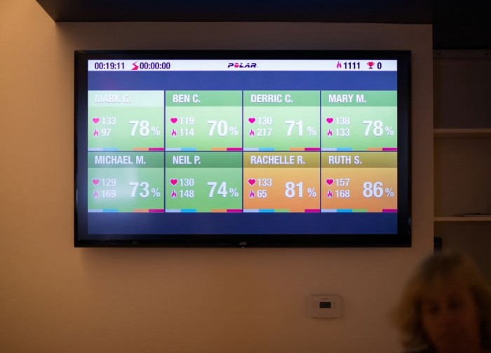 Heart Rate Monitor Training Screen at Gym in Newton